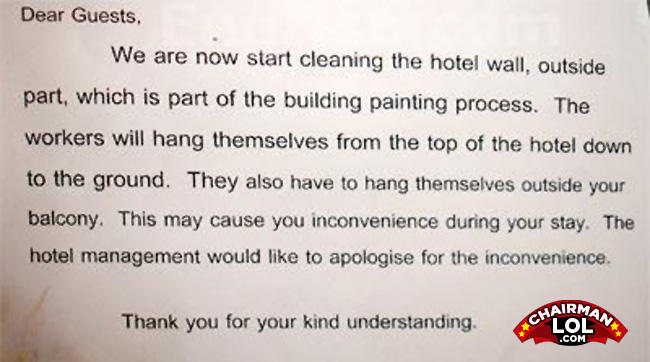 - Sincerely yours, Hotel 626